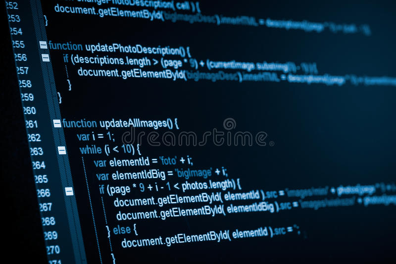 HTML web code. Program code on a monitor stock photos