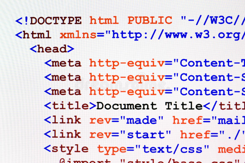 HTML web page code front view. Web page HTML source code with document title, metadata description and links monitor screenshot front view royalty free stock image
