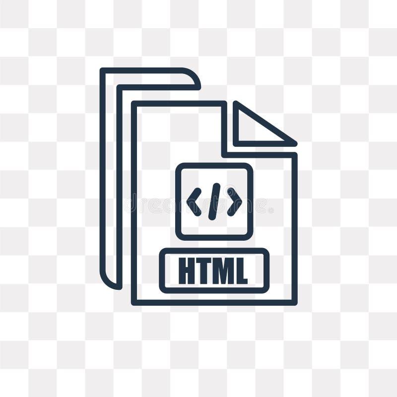 Html wektorowa ikona odizolowywająca na przejrzystym tle, liniowy Html royalty ilustracja