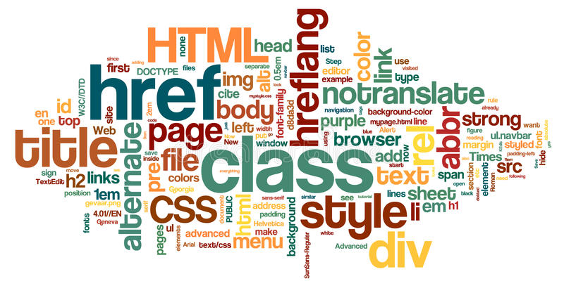 HTML Word Cloud stock illustration
