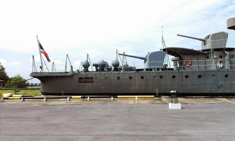 HTMS Maeklong battleship museum stock photography