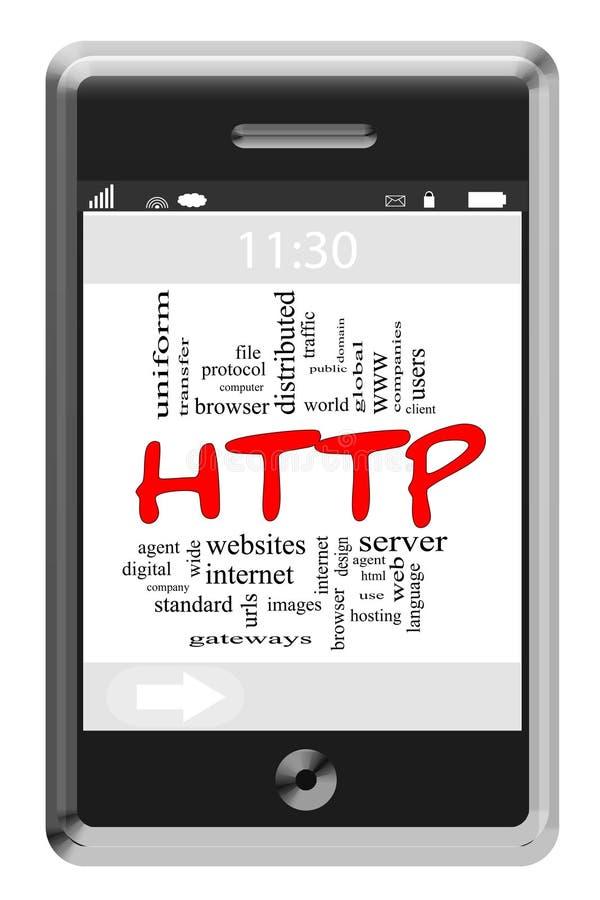 HTTP词在触摸屏幕电话的云彩概念 向量例证