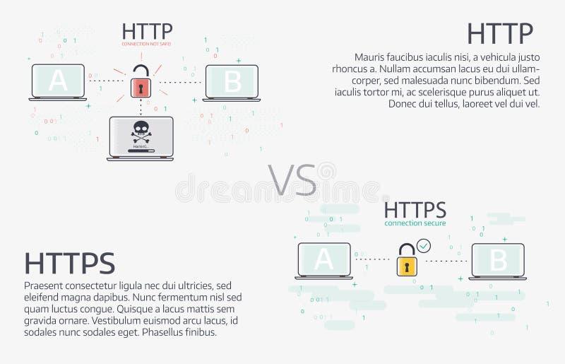 Http против https Линия дизайн вектора тонкая иллюстрации иллюстрация штока
