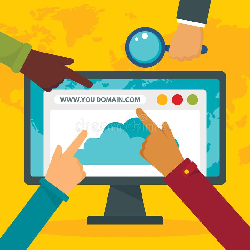 Http domain concept background, flat style vector illustration