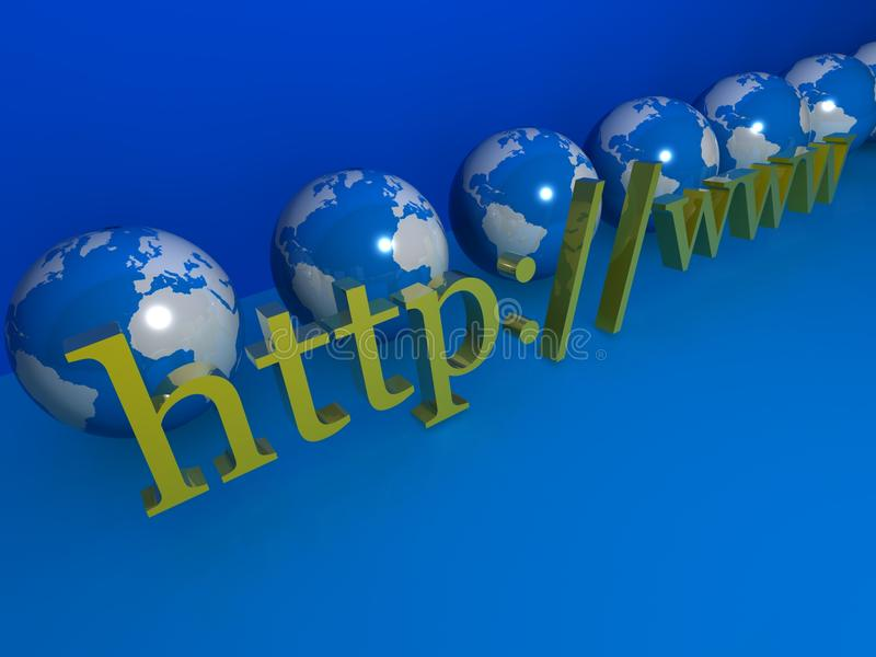 Http internet and globes. The letters http://www symbolizing the worldwide internet or web with globes of the world in the background. Blue and green colors stock illustration