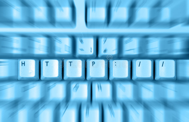 Http keyboard. Blue keyboard with http keys and motion blur stock photos