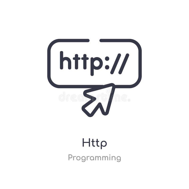 HTTP-overzichtspictogram ge?soleerde lijn vectorillustratie van de programmering van inzameling het editable dunne pictogram van  vector illustratie