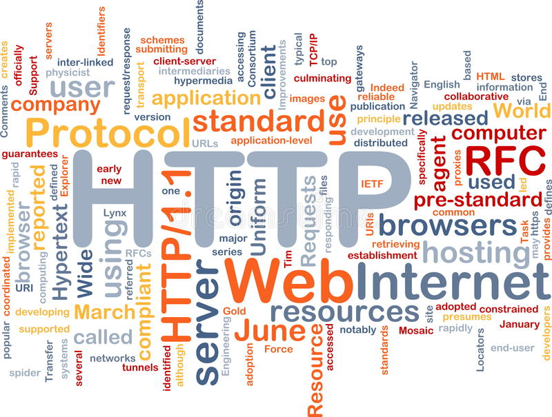 HTTP word cloud. Word cloud concept illustration of web HTTP vector illustration