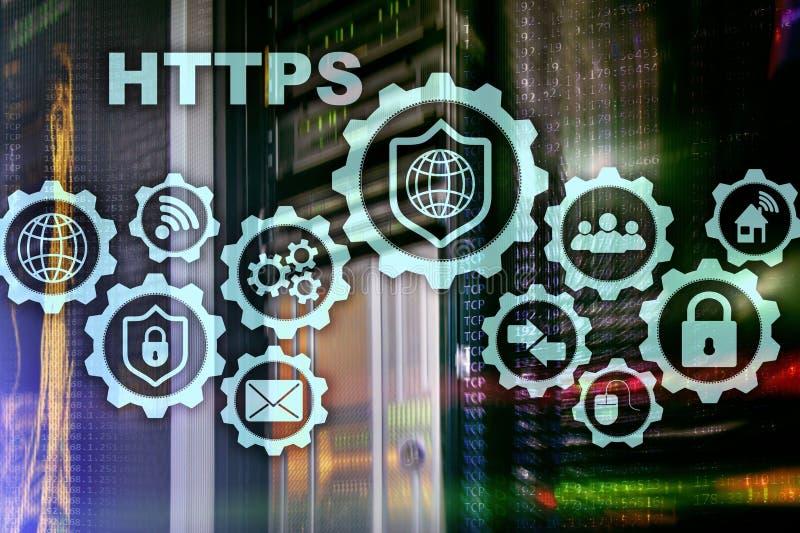 Https 超文件安全的运输协议 在服务器室背景的技术概念 网络的真正象 库存例证