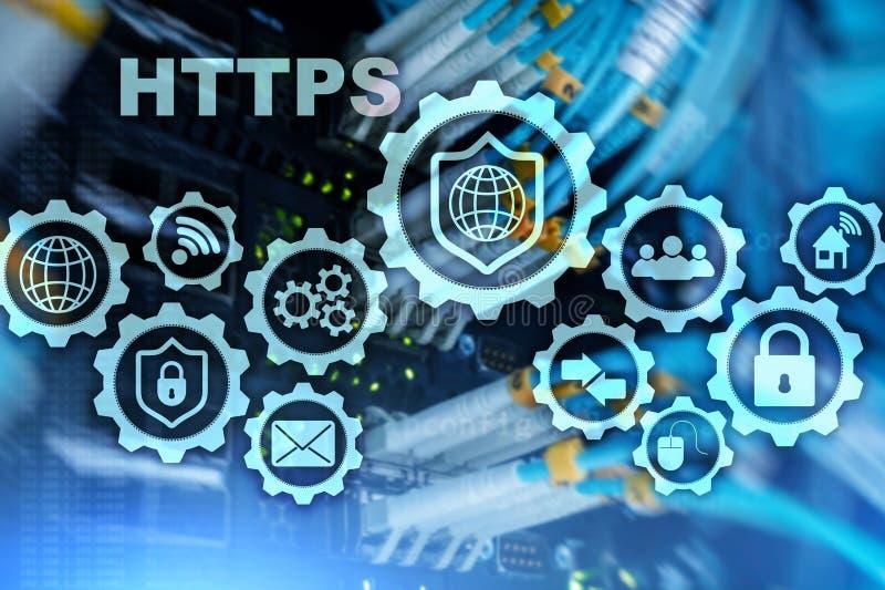 Https Транспортный протокол гипертекста безопасный Концепция технологии на предпосылке комнаты сервера Виртуальный значок для сет иллюстрация вектора