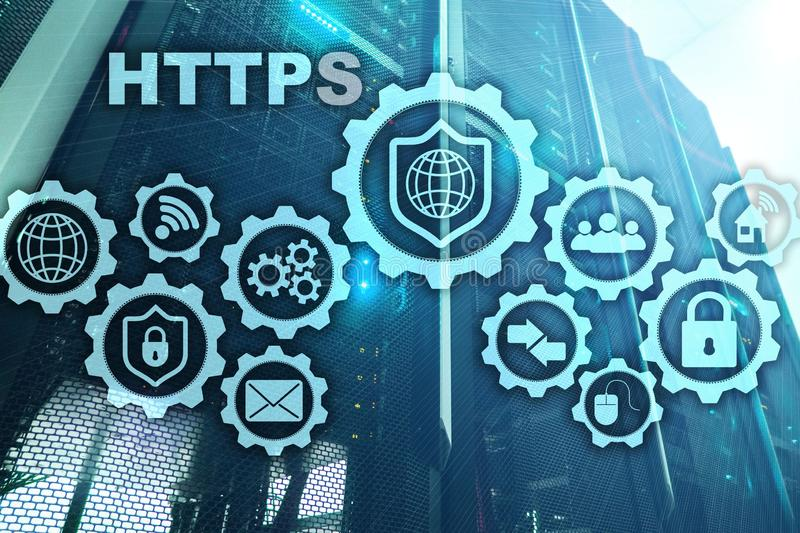 HTTPS. Hypertext Transport Protocol Secure. Technology Concept on Server Room Background. Virtual Icon for network security web stock illustration