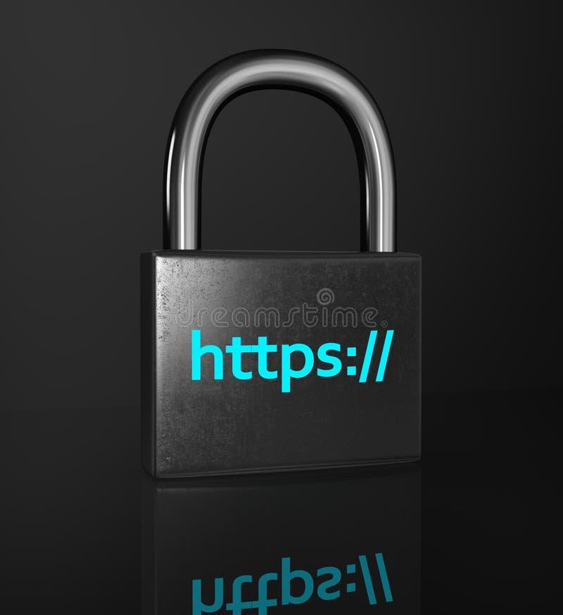 HTTPS padlock on the black background. stock photo