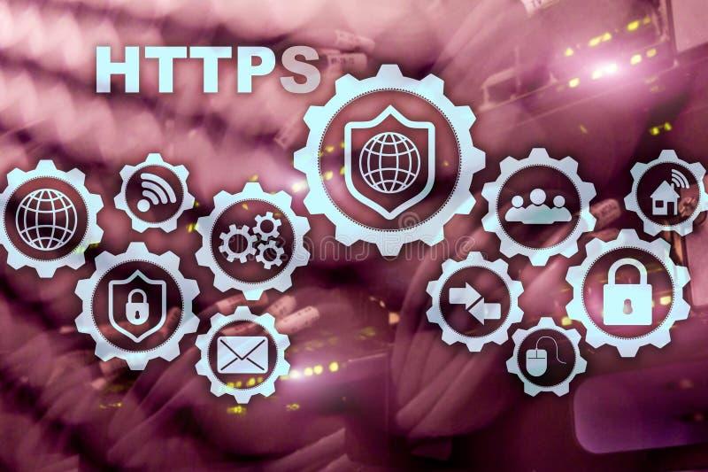Https Protocole de transport d'hypertexte s?r Concept de technologie sur le fond de pi?ce de serveur Ic?ne virtuelle pour le r?se illustration stock