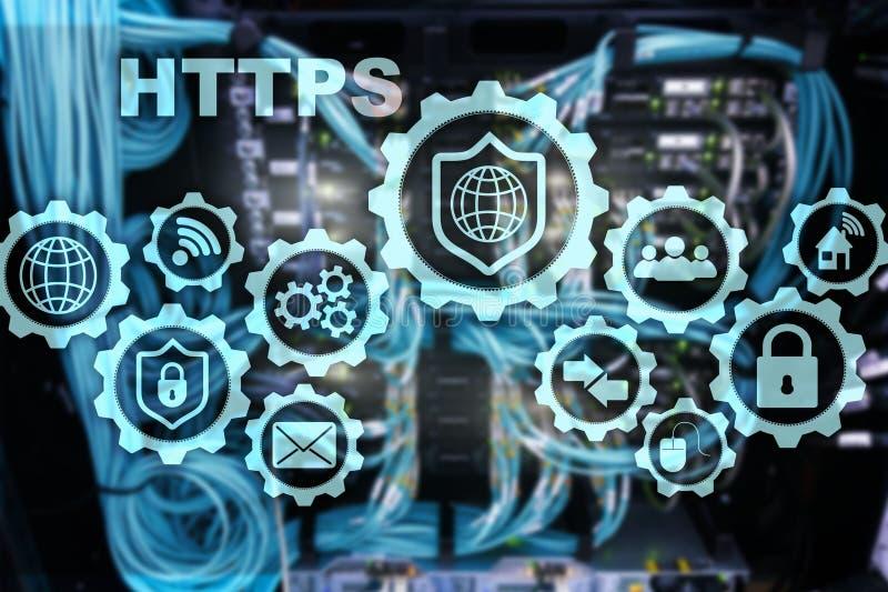 Https Protocolo de transporte do hipertexto seguro Conceito da tecnologia no fundo da sala do servidor Ícone virtual para a rede ilustração do vetor