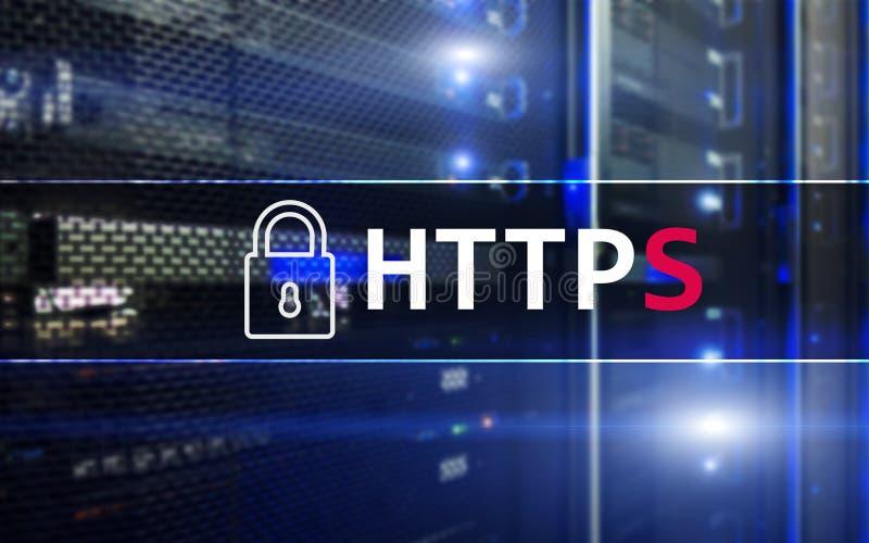 HTTPS, protocolo seguro de transferência de dados usado no world wide web imagem de stock royalty free