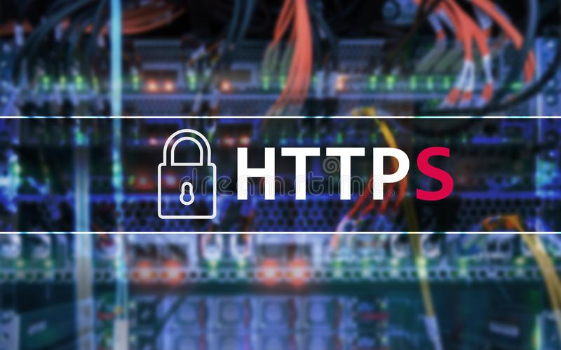 HTTPS, protocolo seguro de transferência de dados usado no world wide web ilustração royalty free