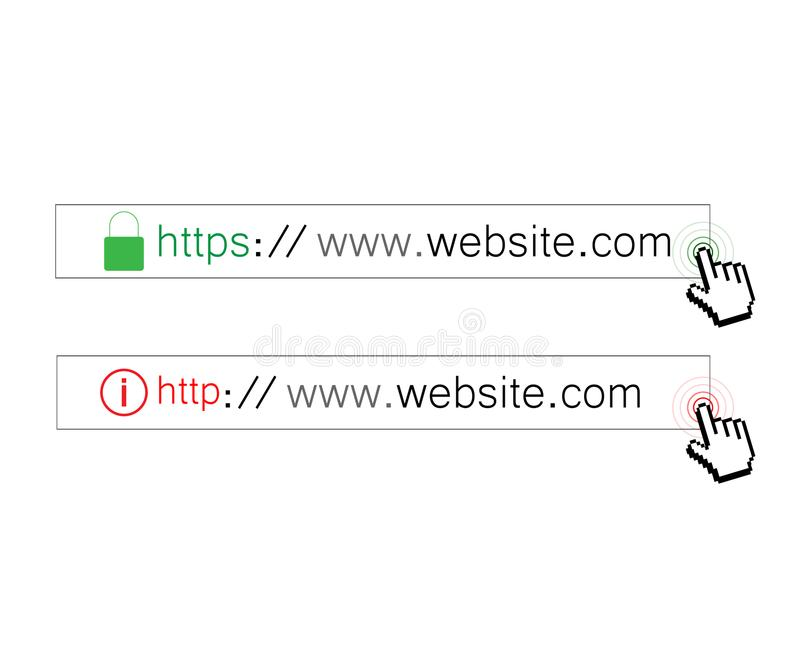 HTTPS-protokoll http-https vektor illustrationer