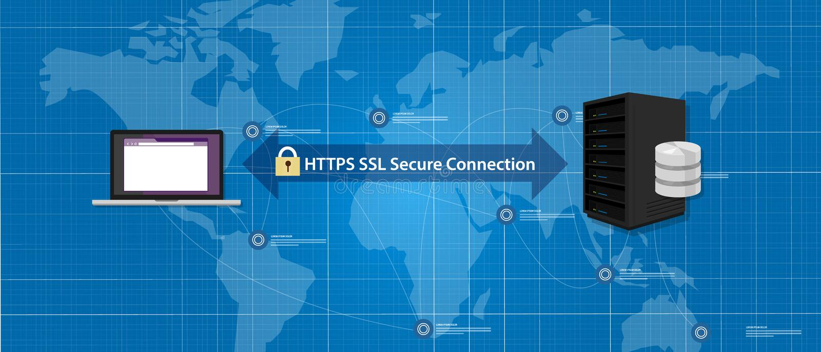 HTTPS SSL Secure connection internet certificate network communication. Vector royalty free illustration