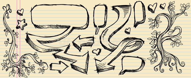 Huésped de la burbuja del discurso del bosquejo del Doodle stock de ilustración