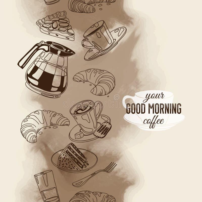 Huésped inconsútil del vector con café y dulces libre illustration
