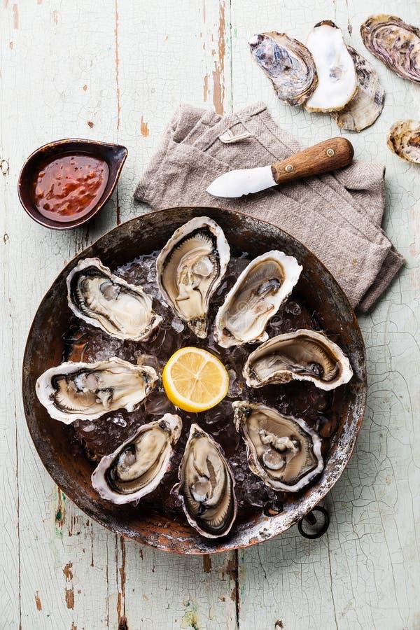 Huîtres avec le couteau épicé de sauce et d'huître photos stock