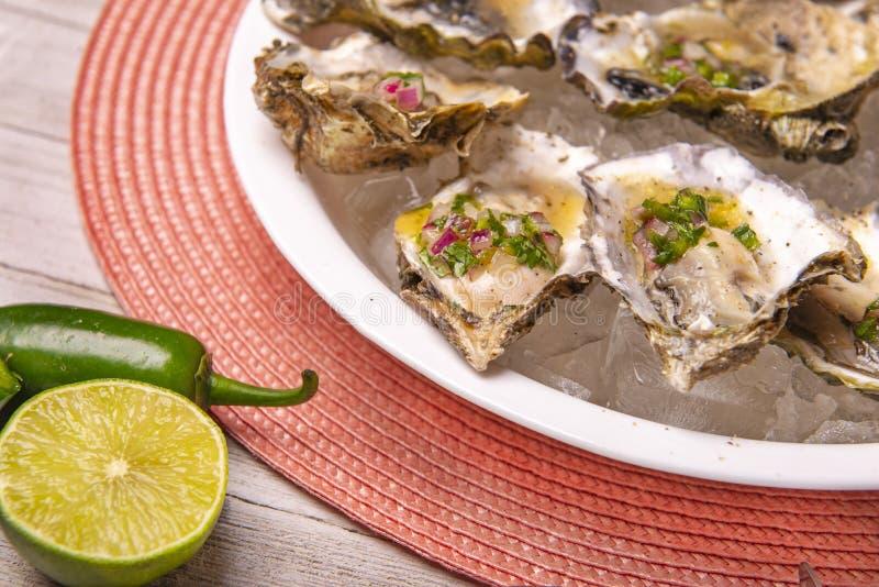 Huîtres fraîches à la sauce jalapeno & citron mignonette photographie stock libre de droits