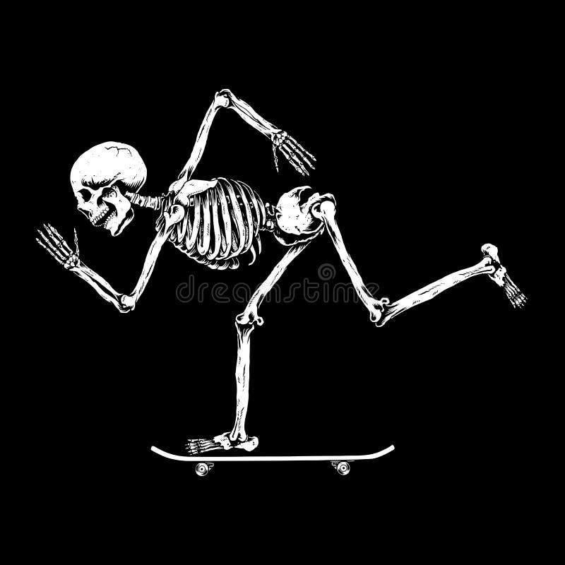 Huśtawka jeździć na deskorolce czaszkę, ilustracji