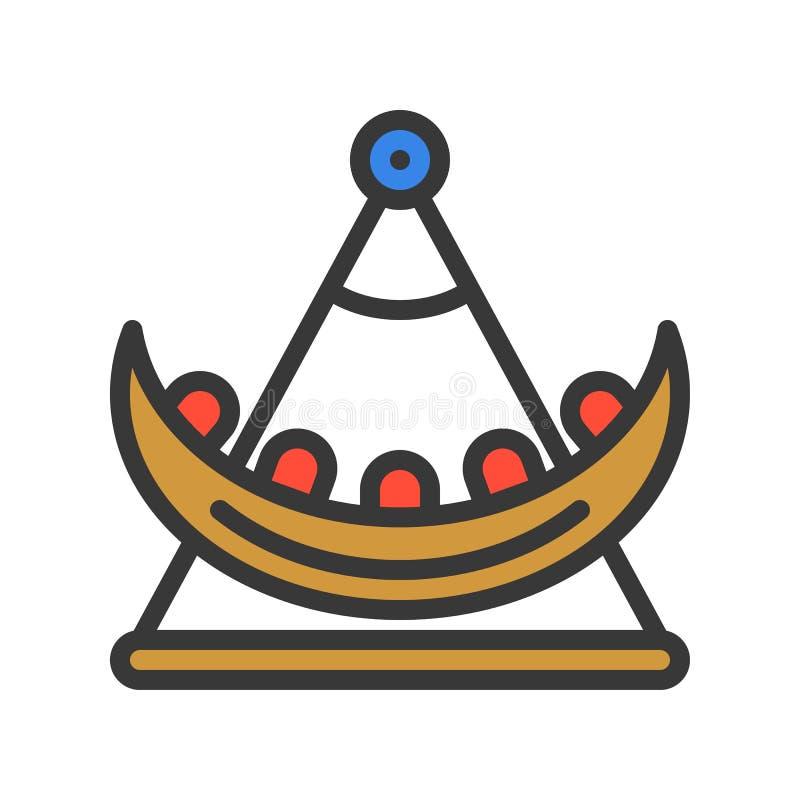Huśtawkowej łodzi wektorowa ikona, wypełniający konturu stylu editable uderzenie ilustracji