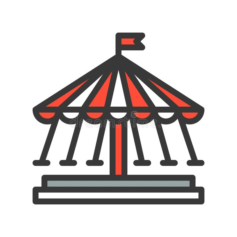 Huśtawkowej przejażdżki wektorowa ikona, wypełniający konturu stylu editable uderzenie royalty ilustracja