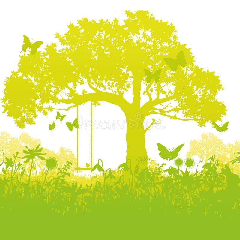 Huśtawkowy drzewo w zaczarowanym ogródzie ilustracja wektor