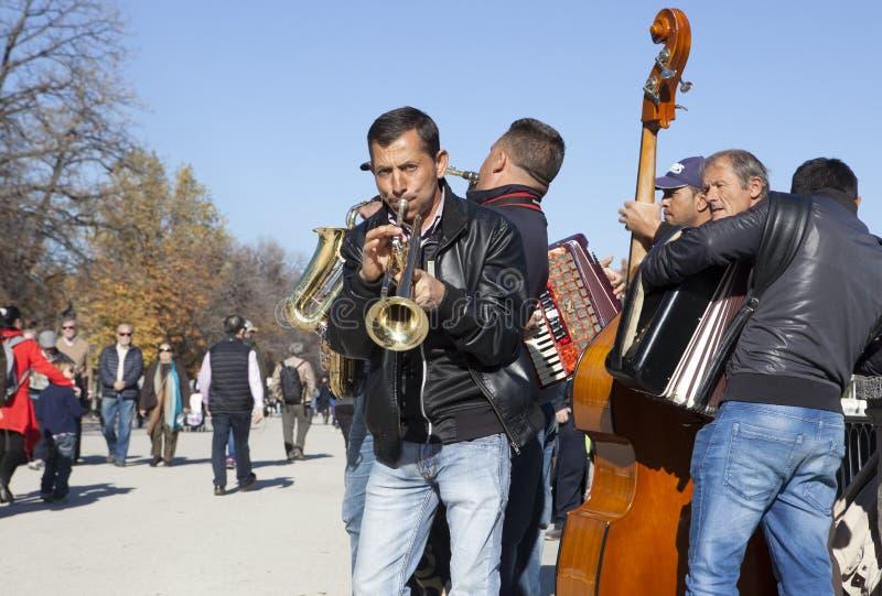 Huśtawkowy zespół uliczni muzycy bawić się w Retiro parku fotografia stock
