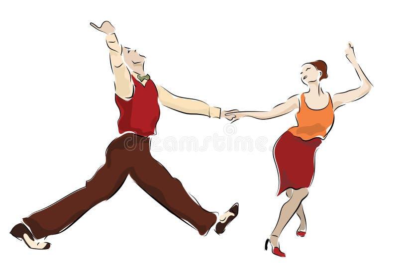 Hu?tawkowa taniec para Lindy chmielu tancerzy huśtać się zdjęcie stock