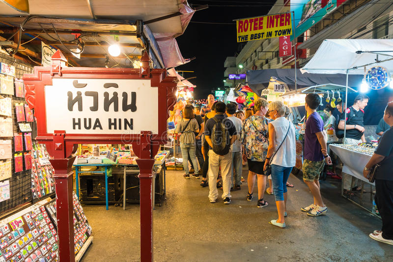 HUA HIN, THAILAND - Jan 22 2016: Tourists stroll at the night ma. Rket in Hua Hin. The famous night market in Hua Hin is a major tourist attraction stock images