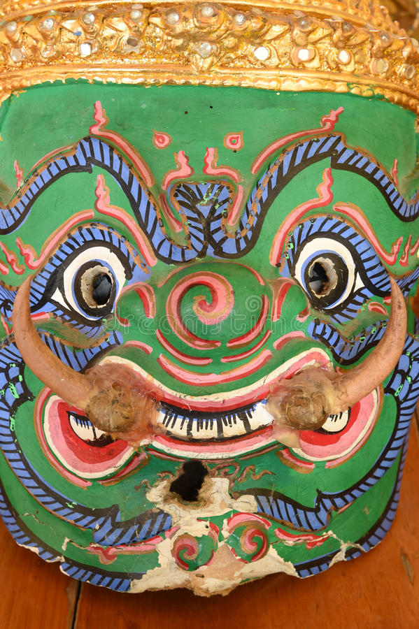 Hua Khon (masque traditionnel thaïlandais) utilisé dans Khon - danse traditionnelle thaïlandaise photographie stock libre de droits