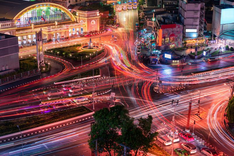Hua Lamphong Railway Station van de Stad van Bangkok, Thailand Cityscape van Doorgangs Eindcentrum in Bangkok, Reis en Bestemming stock afbeelding