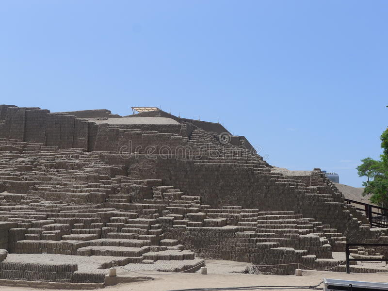 Huaca Pucllana in Miraflores district of Lima, Peru. Scenic view of the adobe pyramid called Huaca Pucllana located in Miraflores district of Lima. As can be stock photos