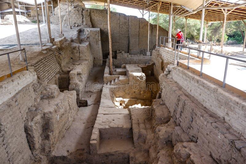 Huaca Rajada考古学站点 奇克拉约,秘鲁 图库摄影