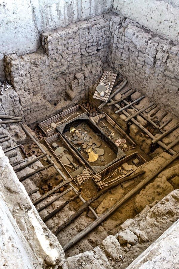 Huaca Rajada, Sipan的阁下的皇家坟茔 奇克拉约,秘鲁 免版税库存图片