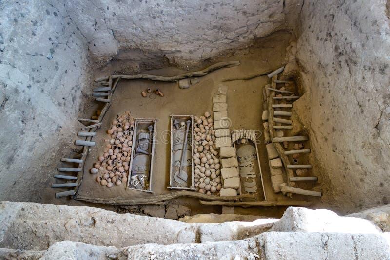 Huaca Rajada, Sipan的阁下的皇家坟茔 库存图片
