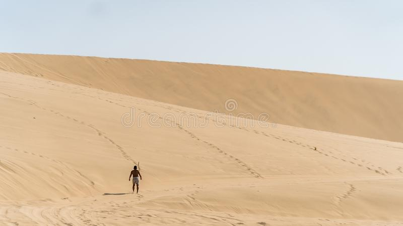Huacachina desert and dunes of sand in Ica region, Peru. stock photo
