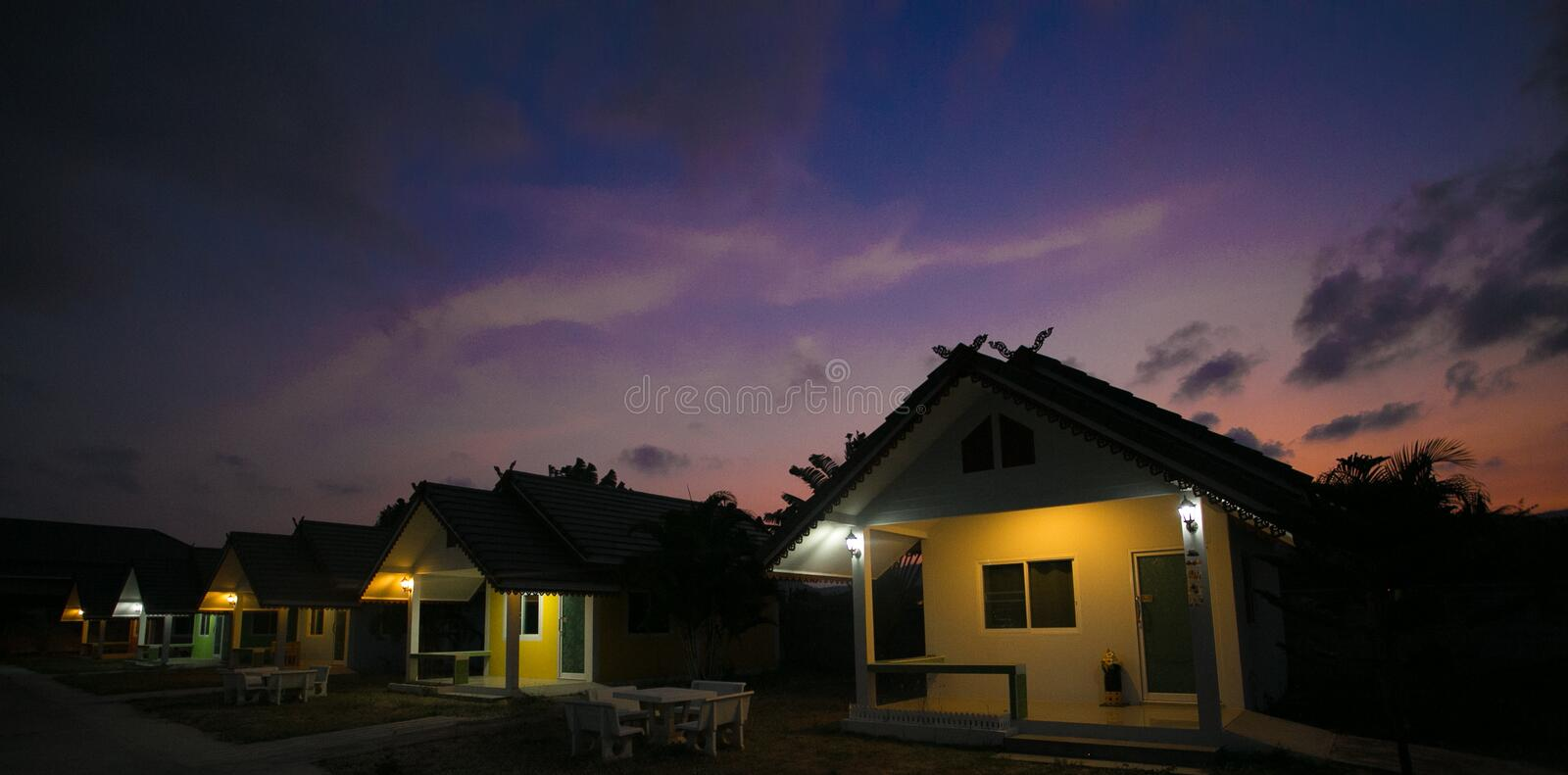 Huahin, Thailand - March 3 2017 House resort, evening. Huahin, Thailand - March 3 House resort, evening royalty free stock photography