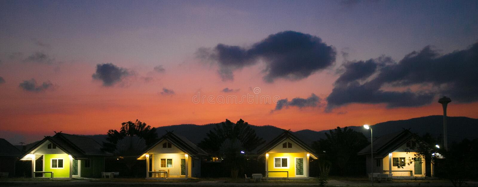 Huahin, Thailand - March 3 2017 House resort, evening. Huahin, Thailand - March 3  House resort, evening stock photos