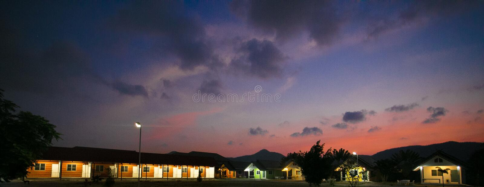 Huahin, Thailand - March 3 2017 House resort, evening. Huahin, Thailand - March 3 House resort, evening stock images