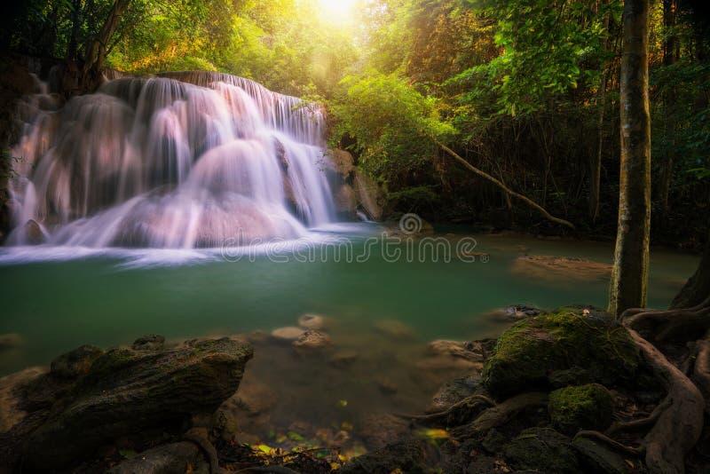 Huai Mae Khamin waterfall. The layer of stone, moss and green forest in Kanchannaburi, Thailand, Asia stock photo