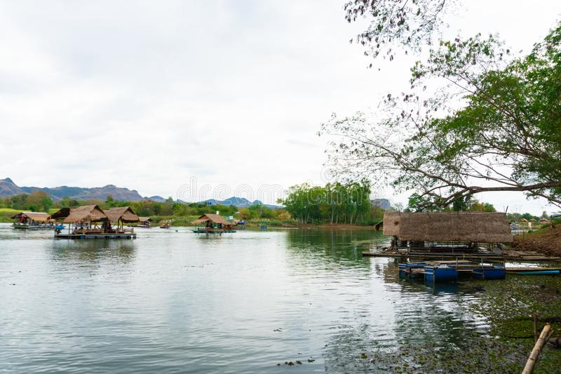 Huai Muang, Thailand lake with boat house the place of relax. Asia place royalty free stock image