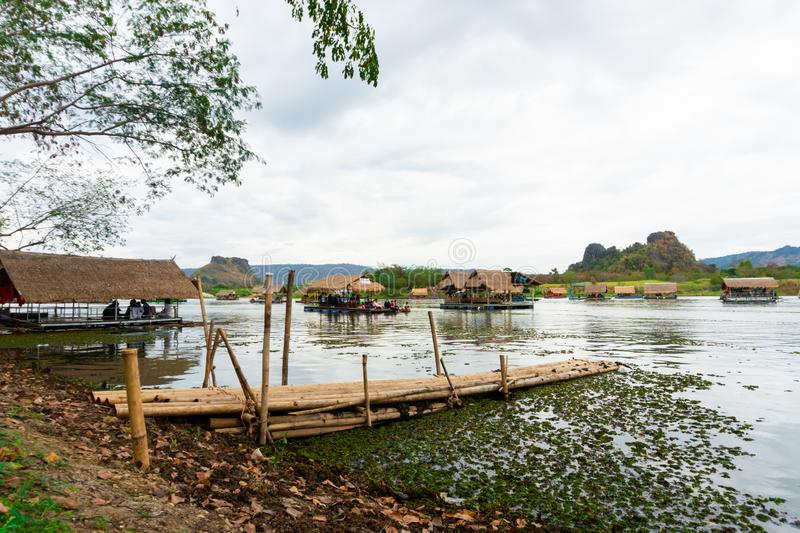 Huai Muang, Thailand lake with boat house the place of relax. Asia place royalty free stock photos