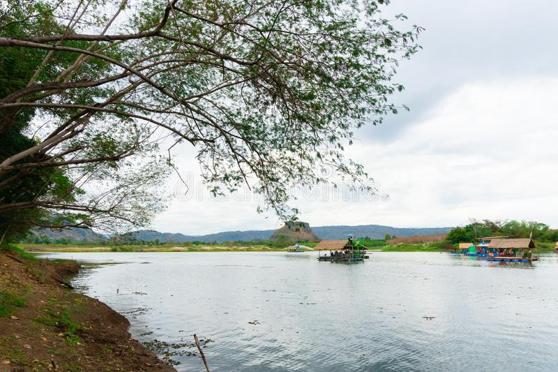 Huai Muang, Thailand lake with boat house the place of relax. Asia place stock photo