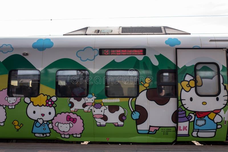 Hualien, Taiwan - 22 de setembro de 2018: Trem com desenhos animados bonitos no estação de caminhos-de-ferro de Hualien imagem de stock royalty free