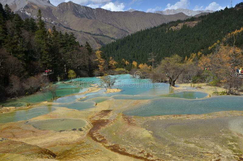 Huang long Yellow Dragon is a scenic and historic interest area in the northwest part of Sichuan, China. Huangl ong Yellow Dragon is a scenic and historic royalty free stock photography