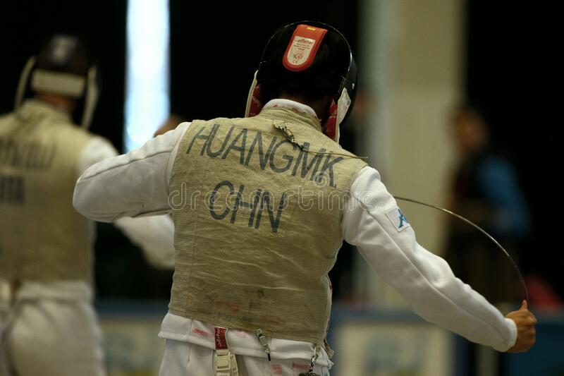 Sword FIE Fencing Grand Prix 2020 Men - Inalpi Trophy royalty free stock photography